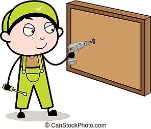 Drilling in a Board with Drill Machine - Retro Repairman Cartoon Worker Vector Illustration