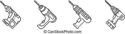 Drilling machine icons set, outline style - Drilling machine...
