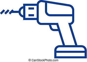 Drilling machine line icon concept. Drilling machine flat...