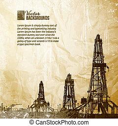 Drilling machine on vintage paper. Vector illustration,...