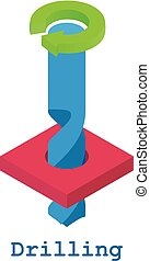 Drilling metalwork icon, isometric 3d style - Drilling...