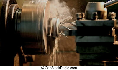 drilling of metal on a lathe