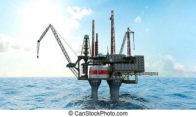Drilling offshore platform and tanker