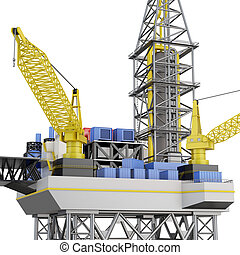 Drilling offshore platform closeup isolated. 3d rendering