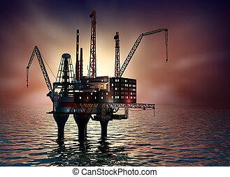 Drilling offshore Platform in night sea. 3D illustration