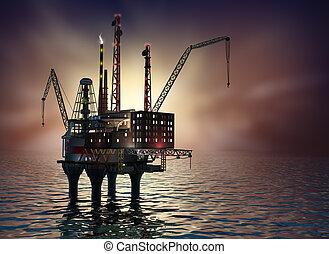 Drilling offshore Platform in night