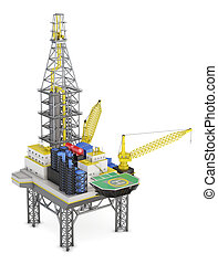 Drilling offshore platform isolated. 3d rendering