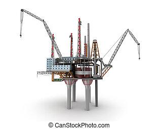 Drilling offshore Platform isolated on white. 3D illustration