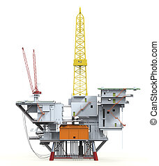 Drilling Offshore Platform Oil Rig isolated on white...