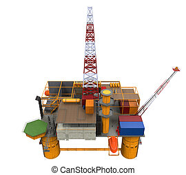 Drilling Offshore Platform Oil Rig isolated on white background. 3D Render