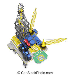 Drilling offshore platform top view isolated. 3d rendering