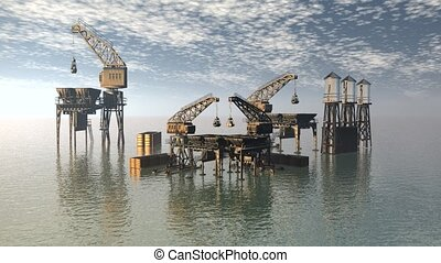 Drilling Platform in sea with clouds sky