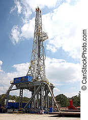 Drilling rig from a side view