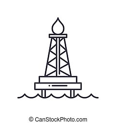 Drilling rig icon, linear isolated illustration, thin line vector, web design sign, outline concept symbol with editable stroke on white background.