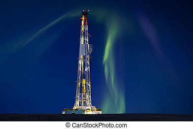 Drilling Rig Potash Mine Night Photography Northern Lights...