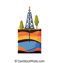 Drilling Rig Pumping Gas out of Borehole, Oil or Gas Industry Production Equipment Flat Style Vector Illustration