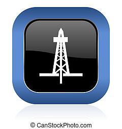 drilling square glossy icon