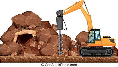 Drilling tractor working in the mine