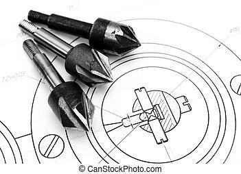 Drills and the drawing. - Drills and the drawing .