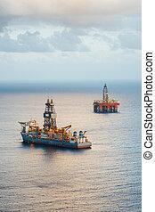 drillship, プラットホーム, オイル, ガス, 沖合いに
