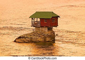 drina, dom, serbia, wyspa, -, skała, rzeka