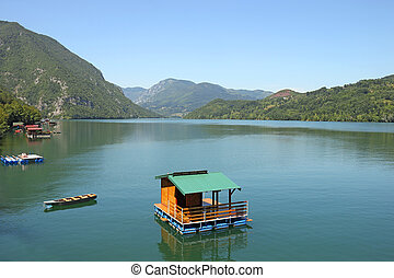 drina, drewniany dom, serbia, mały, ruchomy, rzeka