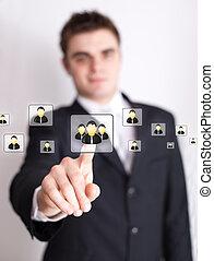 dringend, netwerk, sociaal, pictogram, hand