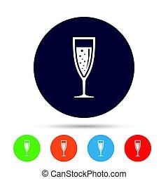drink., アルコール, 印, ガラス, icon., シャンペン