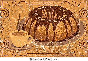 drink., グランジ, カップ, 艶出し, 熱いケーキ