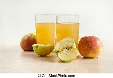 drink, 2, glasses, Apple juice, juice, apples, fruit,