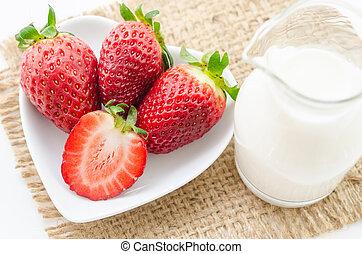 drink., aardbeien, melk