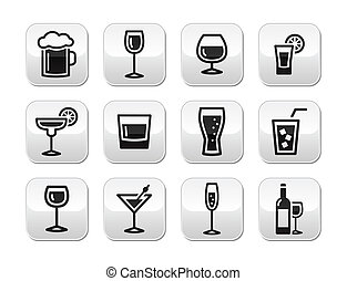 Drink alcohol beverage buttons set
