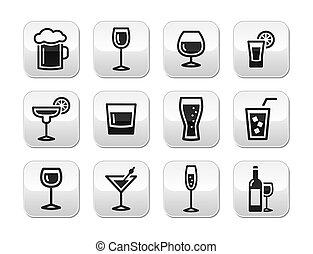 Drink alcohol beverage buttons set