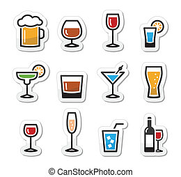 Beverages colourful icon set - vodka shot, beer, martini, whisky
