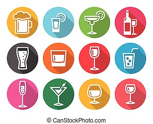 Drink alcohol beverage round flat d