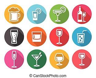 Drink alcohol beverage round flat d