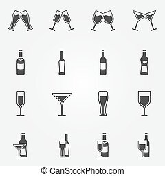 Drink alcohol vector icons