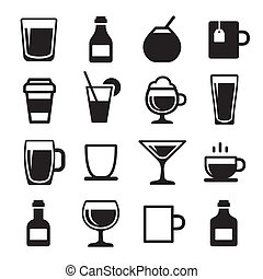 Drink and beverage icons set - Drink and alcohol beverage...