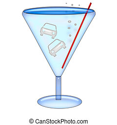 drink and drive - auto shaped ice cubes floating in martini...