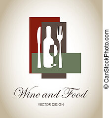 drink and food - wine and food label over gray background...