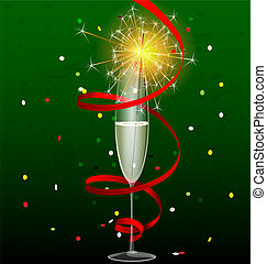 drink and sparkler - on a dark-green background are a glass ...
