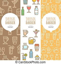 Drink Banner Flyer Vertical Set. Vector