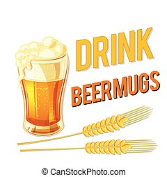 Drink Beer Mugs Glass Of Beer Barley Background Vector Image