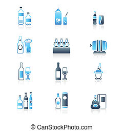 Drink bottles icons | MARINE series - Traditional non- and...