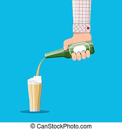drink., cerveja, copo., álcool, garrafa