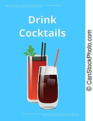 Drink Cocktail Poster Bloody Mary and Whiskey Cola - Drink...