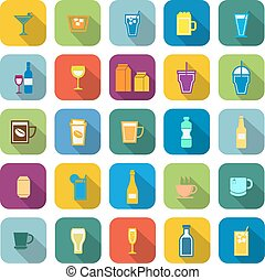 Drink color icons with long shadow