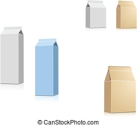 Drink containers - Milk or juice containers isolated on...