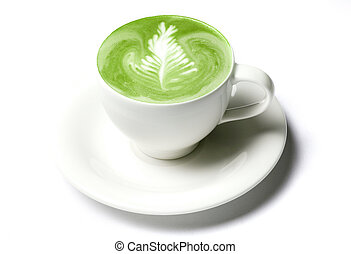 cup of matcha green tea latte over white