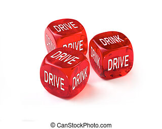 Drink Drive concept with three red dice on a white background.